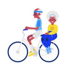flat elderly man woman doing sport vector image