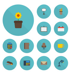 flat icons contact armchair board stand vector image