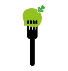 fork with onion isolated icon design vector image