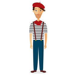 french man in striped shirt beret flat vector image