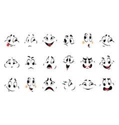 funny cartoon faces comic different emotions vector image