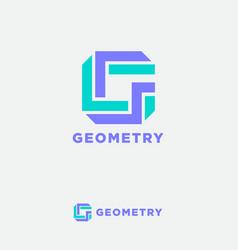 geometry logo g monogram strips origami letter vector image
