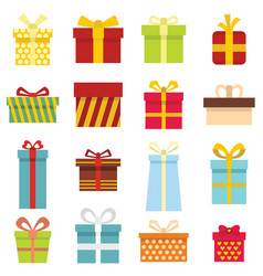 gift icons and present boxes in cartoon flat style vector image