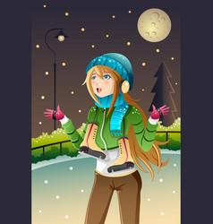 Girl playing ice skating vector