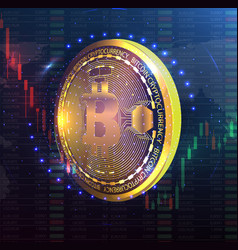 golden bitcoin digital currency futuristic vector image