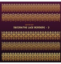 Golden decorative ethnic borders vector