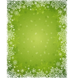 Green christmas background with frame of snowflake vector