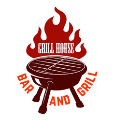 Grill house bbq with fire design element for logo vector