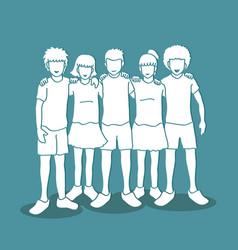 Group children huggig vector