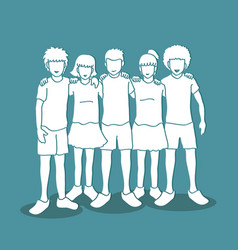 Group of children huggig vector