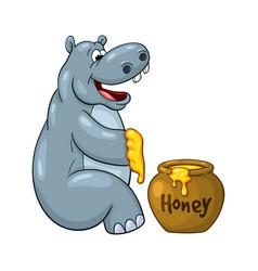 Happy cartoon hippopotamus prepared to eat large vector