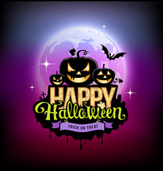 Happy halloween pumpkin design on moon vector