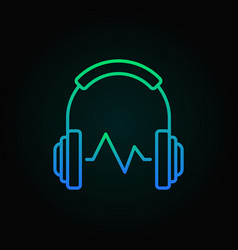 headphone with sound wave colored linear vector image