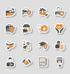 Insurance icons sticker set vector