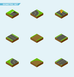 isometric road set of navigation unilateral vector image