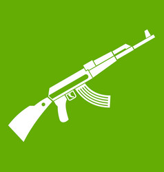 Kalashnikov machine icon green vector