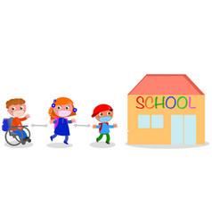 keep social distancing near school isolated vector image