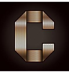 Letter metal gold ribbon - c vector