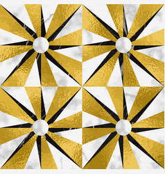 Luxury marble mosaic star with gold foil seamless vector