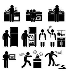 Man cooking kitchen using washing equipment stick vector
