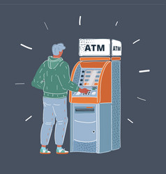 man using cash atm machine vector image