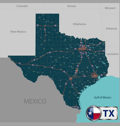 Map of state texas usa vector