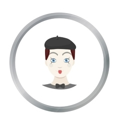 Mime artist icon in cartoon style isolated on vector