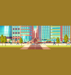 Modern city street life cartoon concept vector