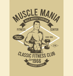 Muscle fitness club vector