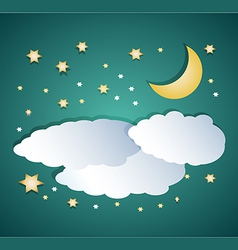 Night clouds with moon and stars vector