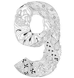 Number nine zentangle decorative object vector