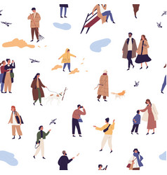 people in autumn clothes or outerwear seamless vector image