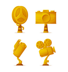 photo and video camera shape gold awards or prizes vector image
