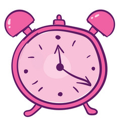 Pink alarm clock on white background vector