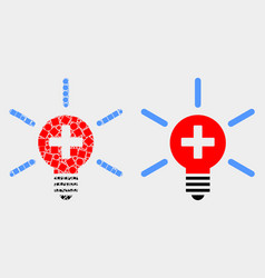 Pixelated and flat medical lamp light icon vector