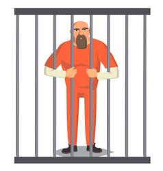 Prisoner man in pokey outlaw robber vector