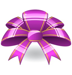 Purple ribbon bow vector
