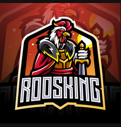 rooster king esport mascot logo design vector image