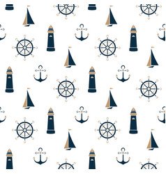 sailboat beacon anchor steering wheel seamless vector image
