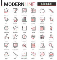 school education thin red black line icon vector image