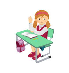 school girl at a school desk vector image
