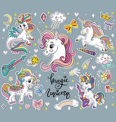 set cute cartoon unicorns gray vector image