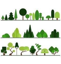 Set flat trees pine bushes fancy plants vector