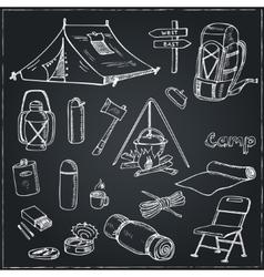 Set hand drawn camping equipment drawings vector