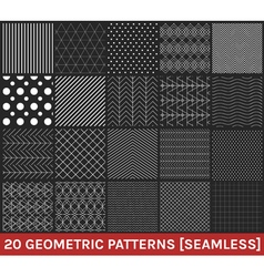 Set of 20 abstract geometric patterns black vector image