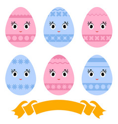 Set of colored isolated cute easter eggs on a vector