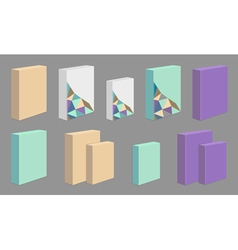 Set of colored product boxes vector