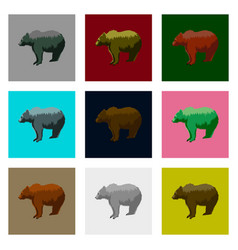 set of in flat style bears vector image