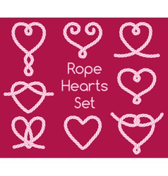 Set of rope hearts decorative knots vector
