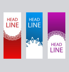 Set vertical abstract banners in oriental style vector